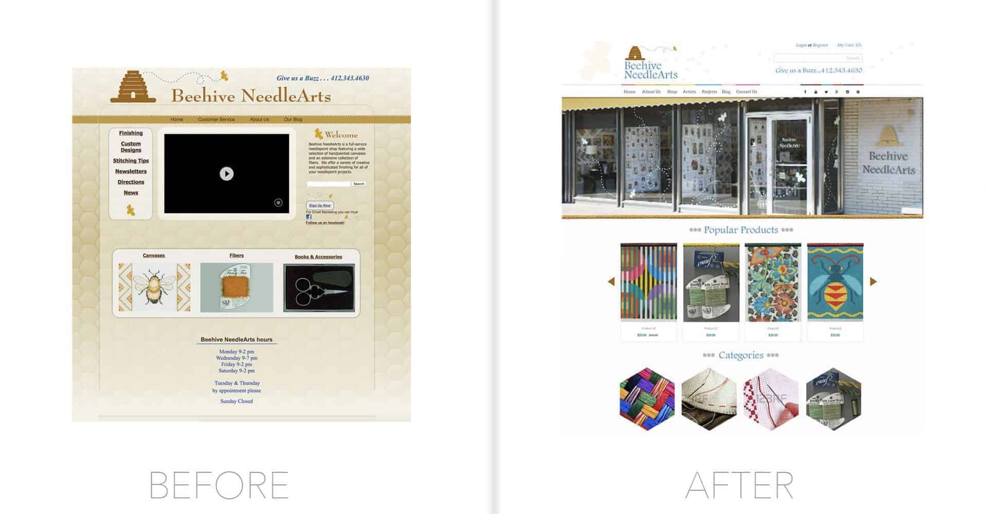 Beehive NeedleArts Website Design
