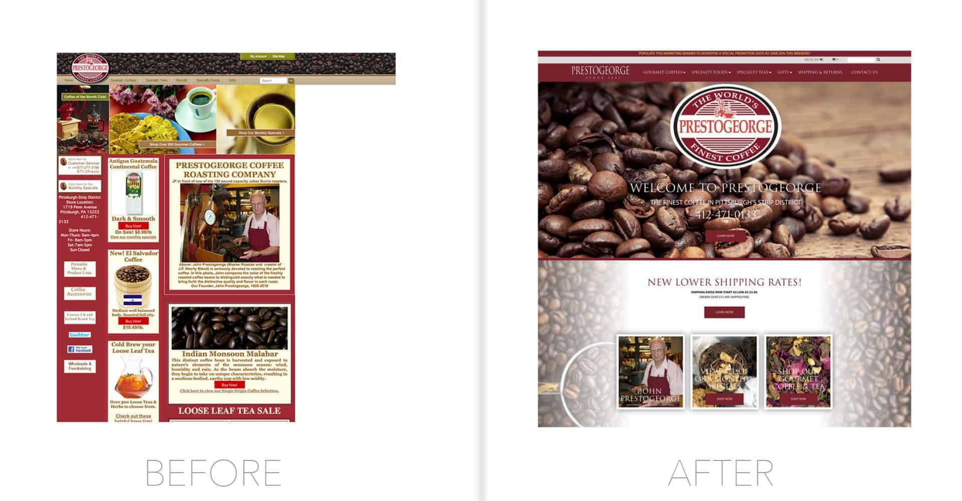 PrestoGeorge before and after designed by Drift2 Web Solutions