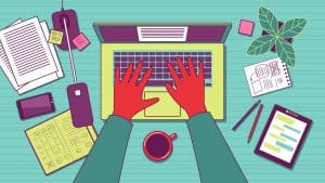 Hyper stylized drawing with funky colors of a work desk and a man typing on his laptop