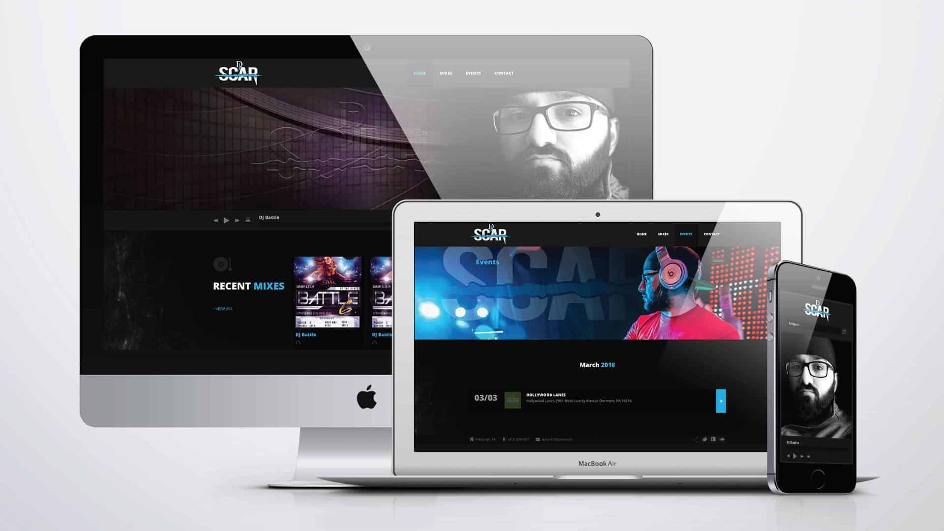 DJ Scar Website Design by Drift2 Web Solutions.