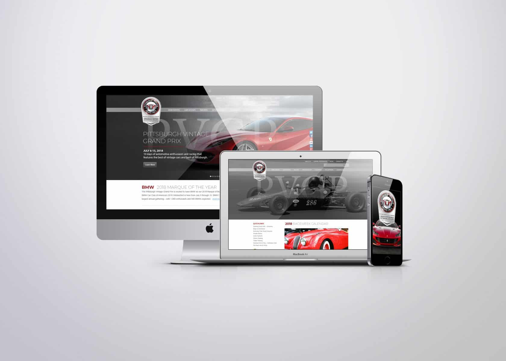 Website design for Pittsburgh Vintage Grand Prix provided by Pittsburgh Web Design Firm Drift2 Solutions