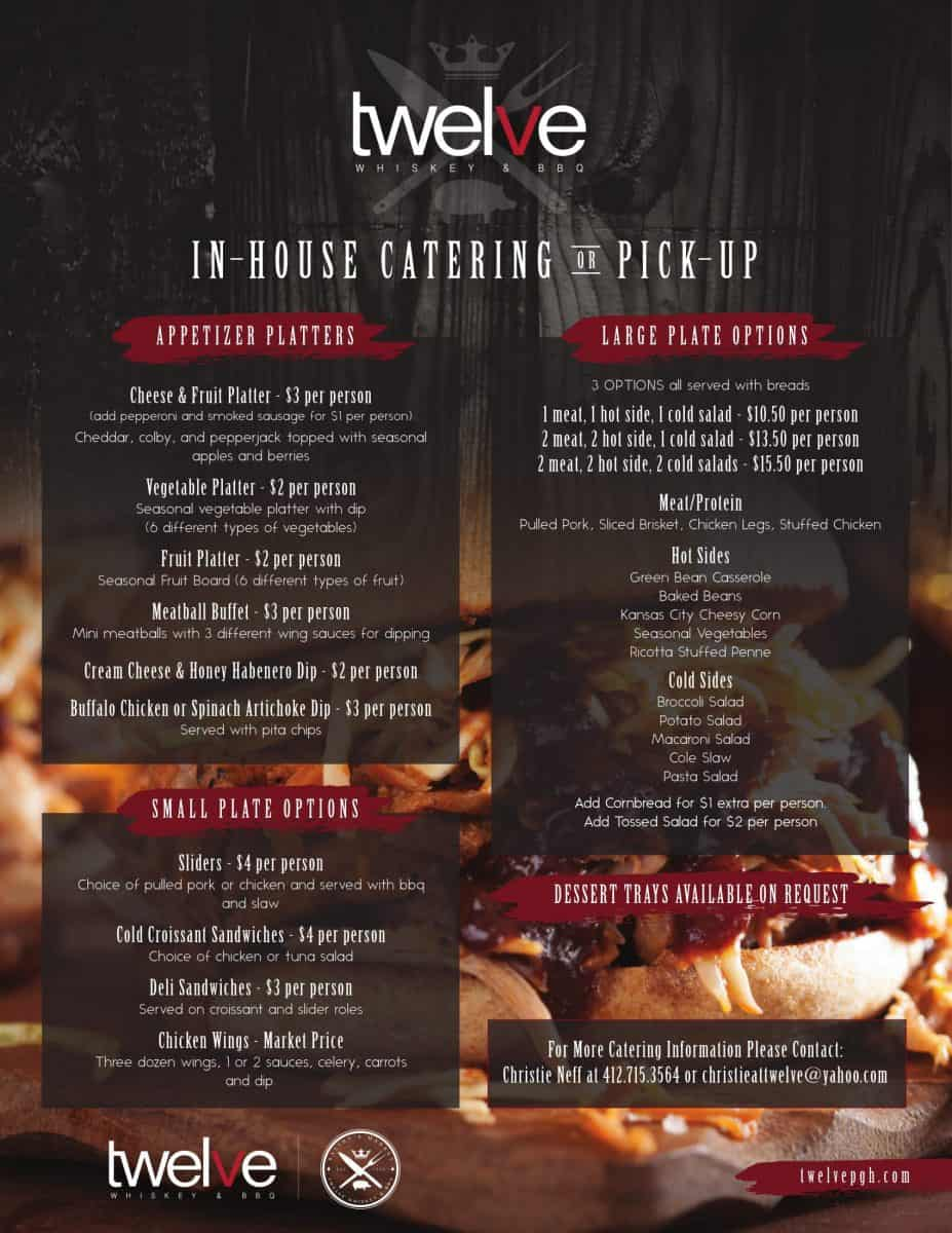 Twelve Whiskey & BBQ Catering Menu Design